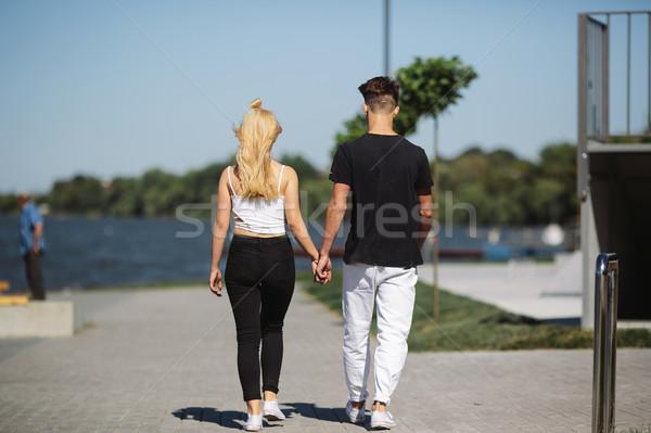 couple are walking on the street Stock photo © tekso