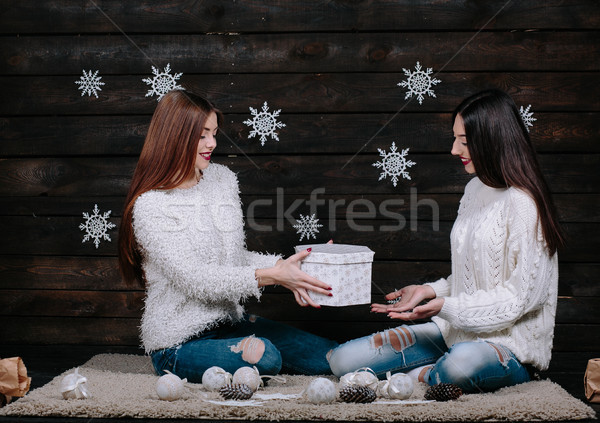 Two young girls holding bright holiday present Stock photo © tekso
