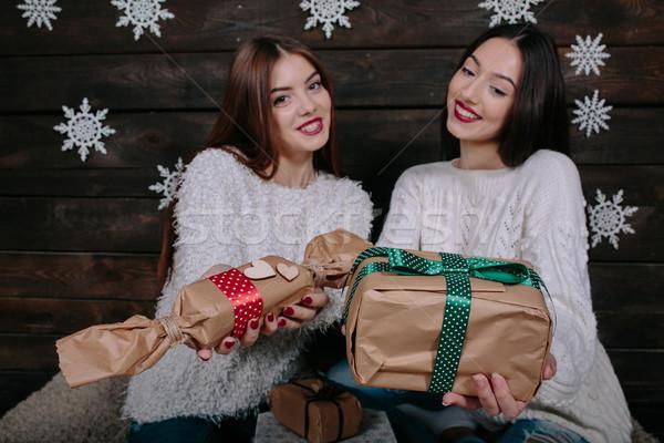 Dois belo meninas oferecer presentes Foto stock © tekso