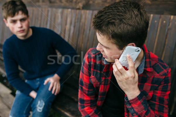 Stock photo: man talking on smartphone