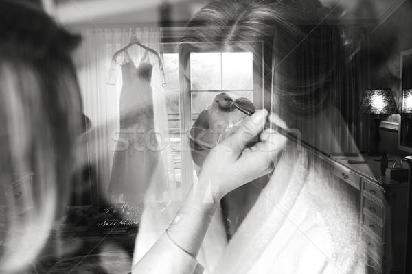 Jelentkezik smink menyasszony művész divat nő Stock fotó © tekso
