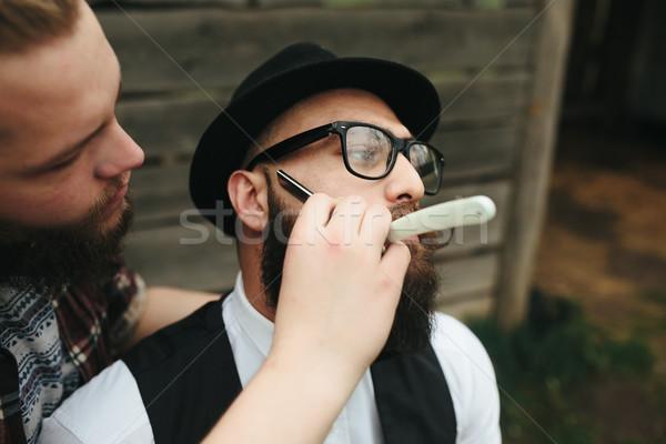 Barbero barbado hombre vintage ambiente moda Foto stock © tekso