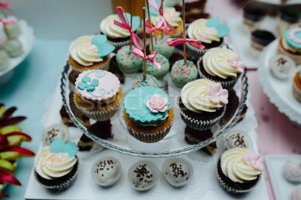 Finom esküvői torta esküvő buli terv csokoládé Stock fotó © tekso