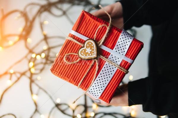 девушки Рождества подарок стороны рук Сток-фото © tekso