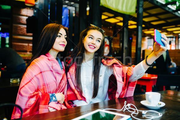 два тесные друзей кафе молодые Сток-фото © tekso