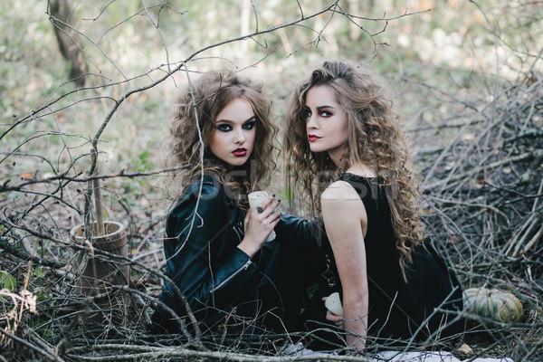 Zwei Jahrgang Halloween Frauen Hintergrund schwarz Stock foto © tekso