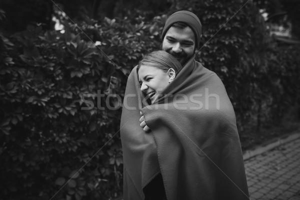 çift poz park sakallı adam kız Stok fotoğraf © tekso