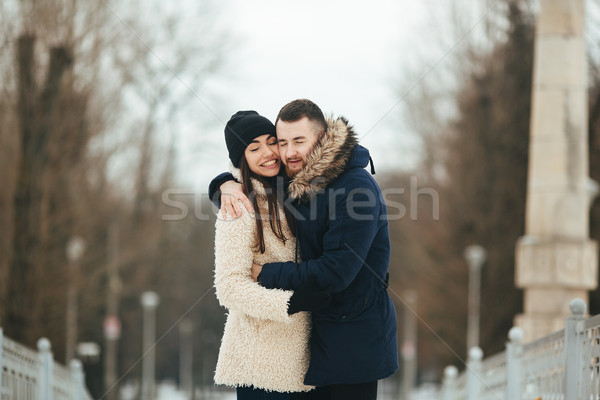 man and woman posing for the camera Stock photo © tekso