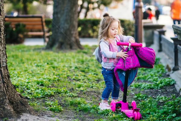 Little girl caminhada parque pequeno beautiful girl menina Foto stock © tekso