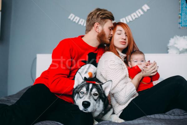 Stockfoto: Gelukkig · gezin · pasgeboren · kamer · vrouw · huis