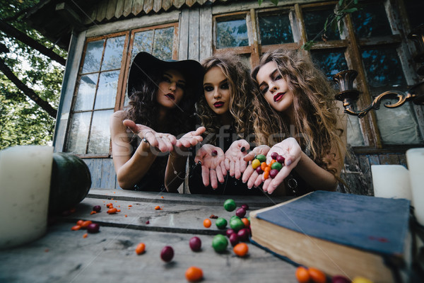 Foto stock: Três · vintage · magia · ritual · doce