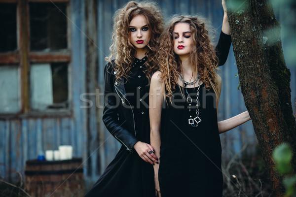 Zwei Jahrgang Frauen posiert neben aufgegeben Stock foto © tekso