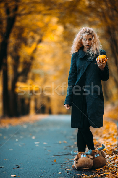 Woman in an autumnal landscape Stock photo © tekso