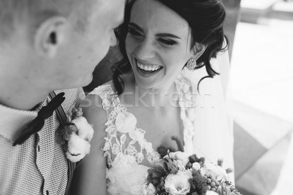 Сток-фото: свадьба · пару · сидят · каменные · скамейке · тесные