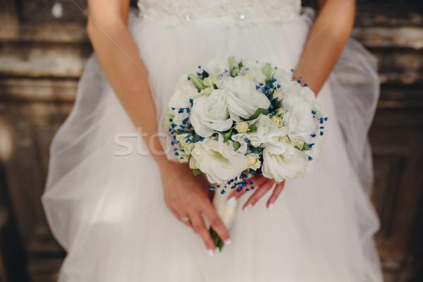 Novia hermosa ramo de la boda primer plano manos Foto stock © tekso
