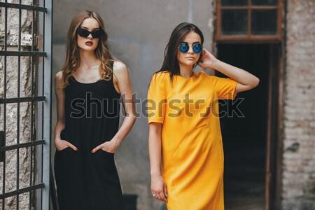 Iki güzel genç kızlar poz Stok fotoğraf © tekso
