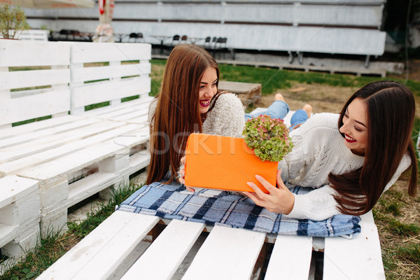 Girls lie on the bench and give each other gifts Stock photo © tekso