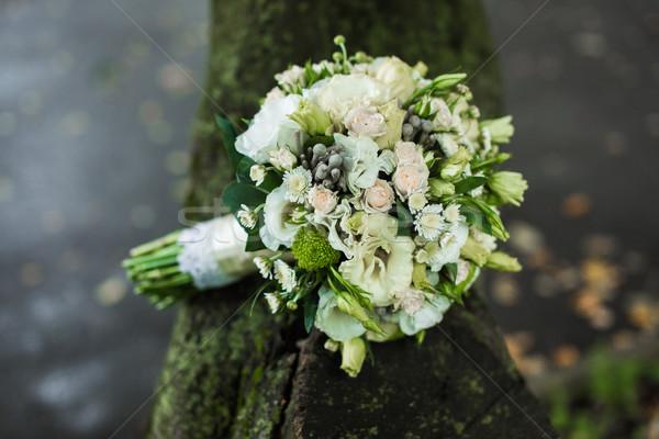 Gyönyörű menyasszonyi virágcsokor szeretet rózsa természet Stock fotó © tekso