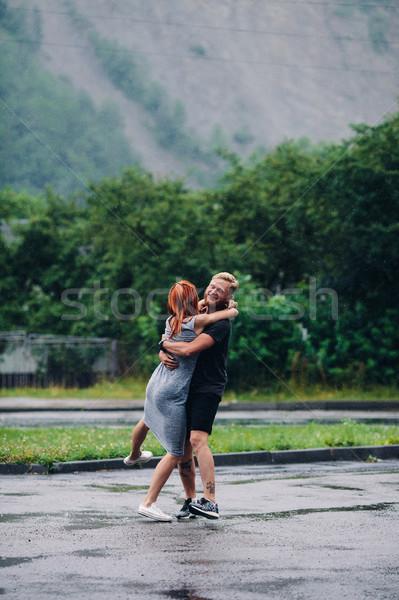 man throws up his girlfriend Stock photo © tekso