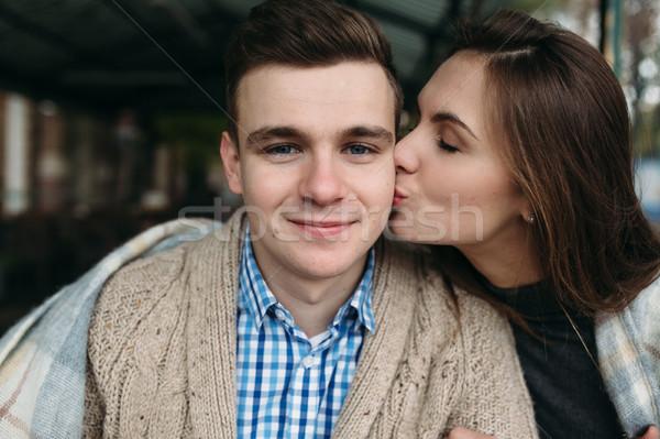 çift oturma kaldırım kafe romantik Stok fotoğraf © tekso