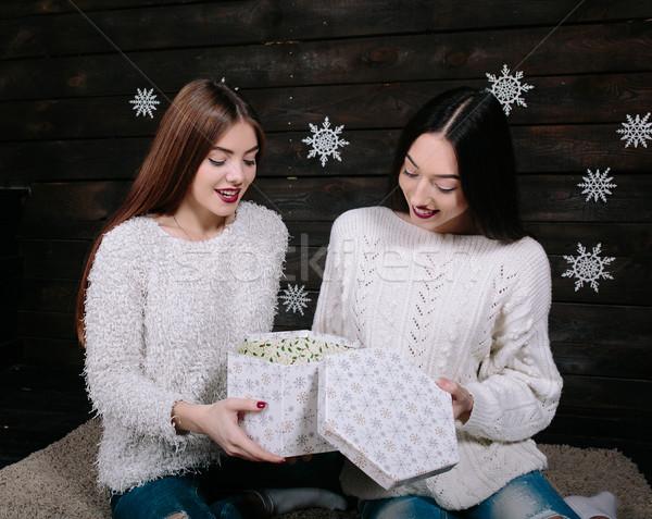 два красивой девочек вместе подарки довольно Сток-фото © tekso