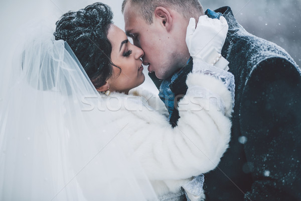 bride and groom on the background of a winter city Stock photo © tekso