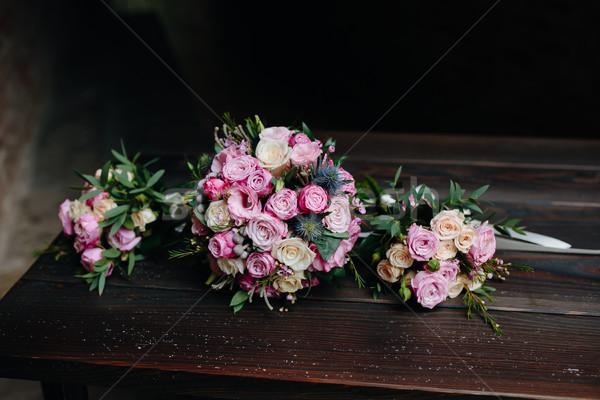 Ramo de la boda rosas banco flor boda Foto stock © tekso