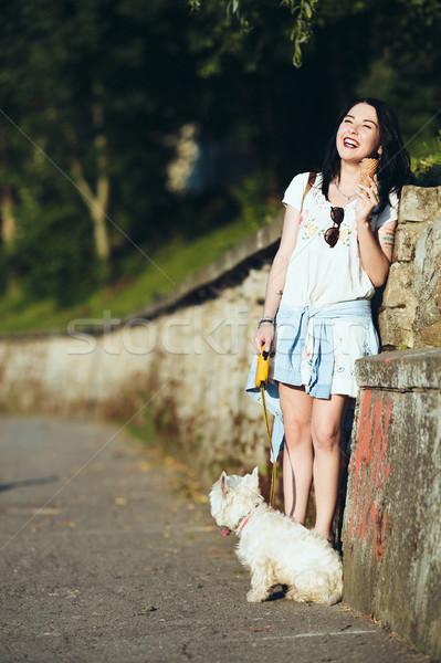Nina helado perro pared feliz verano Foto stock © tekso