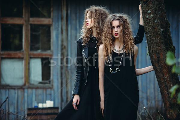 Dois vintage mulheres posando abandonado Foto stock © tekso