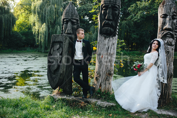 小さな ブライダル カップル ポーズ 湖 結婚式 ストックフォト © tekso
