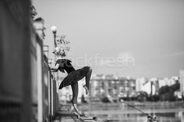 балерины позируют озеро камеры девушки город Сток-фото © tekso