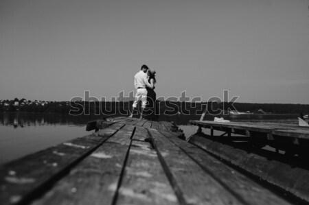 пару красивой природы озеро пирс весны Сток-фото © tekso