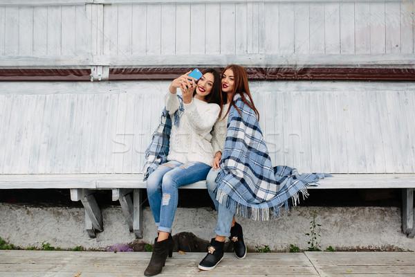 Two girls make selfie Stock photo © tekso