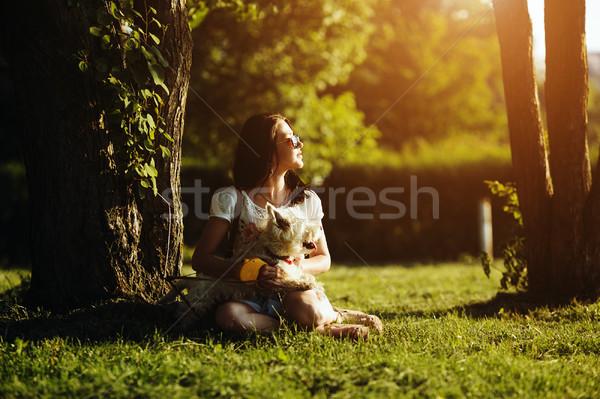 Lány kutya ül fű fa tavasz Stock fotó © tekso