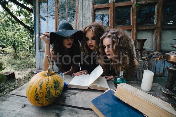 Three vintage witches perform magic ritual Stock photo © tekso