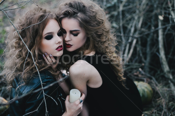 Two vintage witches gathered eve of Halloween Stock photo © tekso