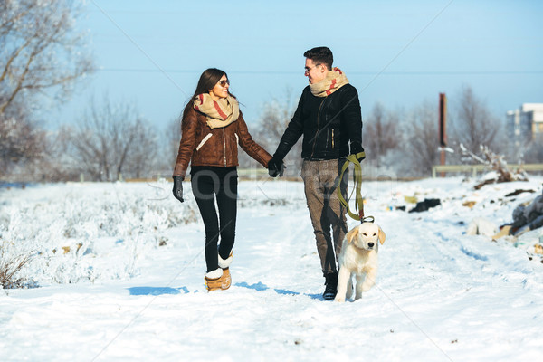 Liefde lopen hond buitenshuis familie Stockfoto © tekso