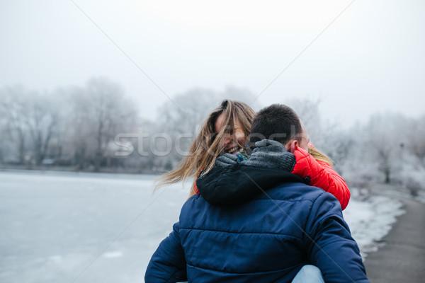 Genç güzel çift kadın ağaç Stok fotoğraf © tekso