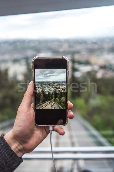 Görmek doğrudan ray modern kabin cam Stok fotoğraf © tekso