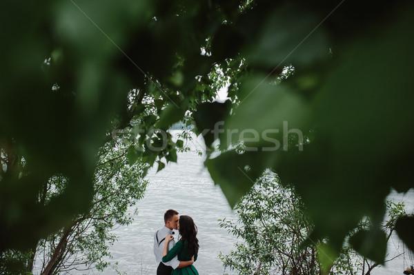 человека женщину озеро время воды семьи Сток-фото © tekso