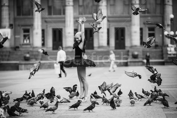 バレリーナ ポーズ 鳥 広場 少女 市 ストックフォト © tekso