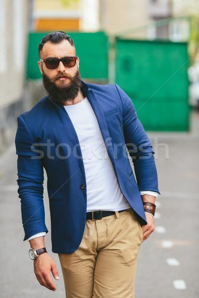 şık sakallı adam şehir iki işadamları Stok fotoğraf © tekso