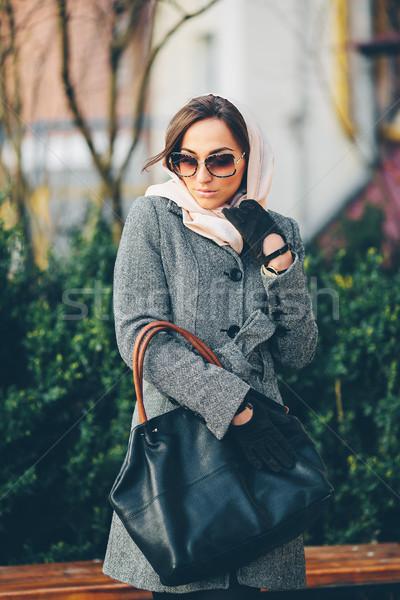Feliz jovem beautiful girl posando parque belo Foto stock © tekso