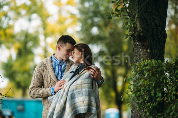 Paar najaar park portret jonge gelukkig Stockfoto © tekso
