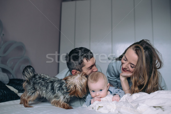 Family playing on bed in the bedroom Stock photo © tekso