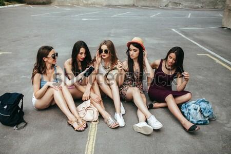 Five beautiful young girls Stock photo © tekso