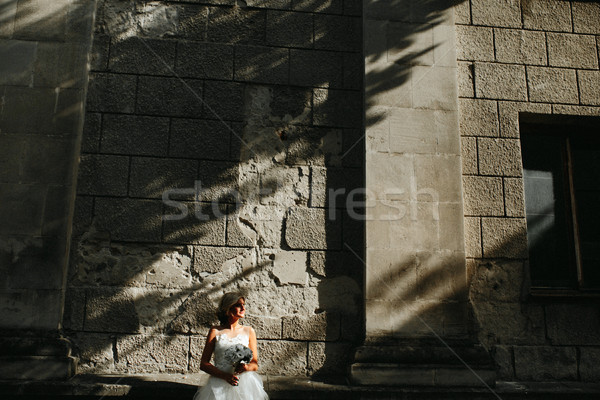 花嫁 ポーズ 石の壁 小さな 美しい 花 ストックフォト © tekso