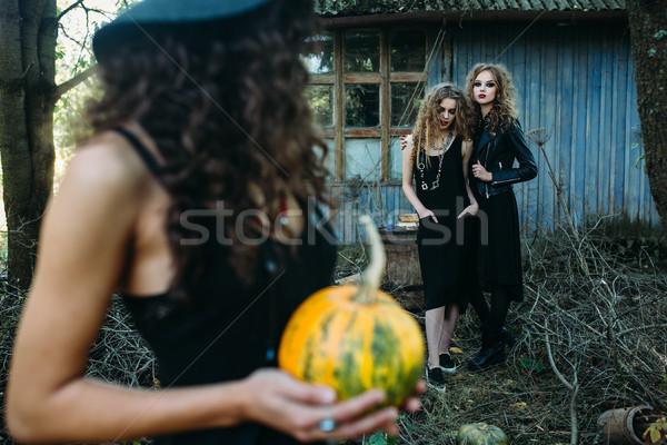 Trzy vintage kobiet stanowią opuszczony budynku Zdjęcia stock © tekso
