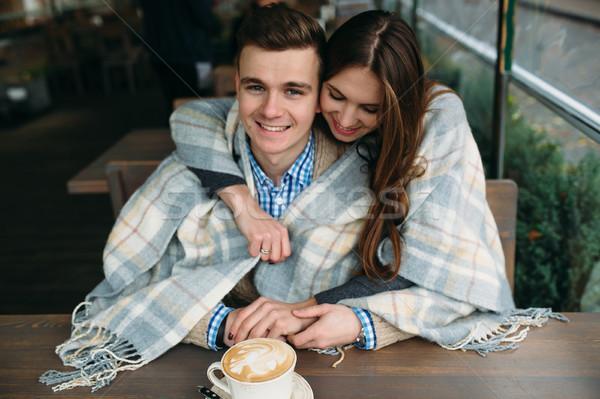 Paar vergadering trottoir cafe romantische Stockfoto © tekso