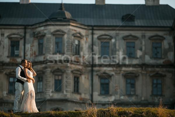 Hermosa Pareja posando edad castillo familia Foto stock © tekso